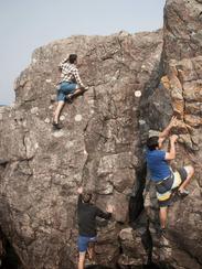 Northern Michigan students bouldering around on Little