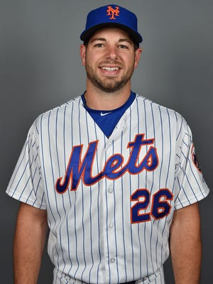 New York Mets catcher Kevin Plawecki (26) poses for a photo during photo day at Tradition Field.