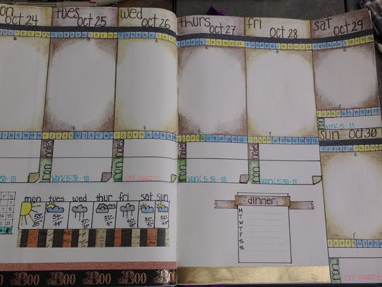 Amy Skibinski likes to decorate her bullet journal