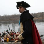 From left: Ronald Rinaldi, James Rinaldi, Ronnie Rinaldi of Branchburg are dressed in Continental Army uniforms for the annual Delaware River crossing.