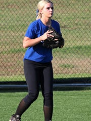 Viola's Mallory Guffey plays left field during the