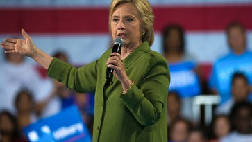 Secretary of State Hillary Clinton speaks at a campaign rally at the Florida State Fairgrounds in Tampa on Friday, July, 22, 2016. Clinton made the stop in Tampa during a two-day swing through Florida, where she is expected to announce her vice presidential running mate.