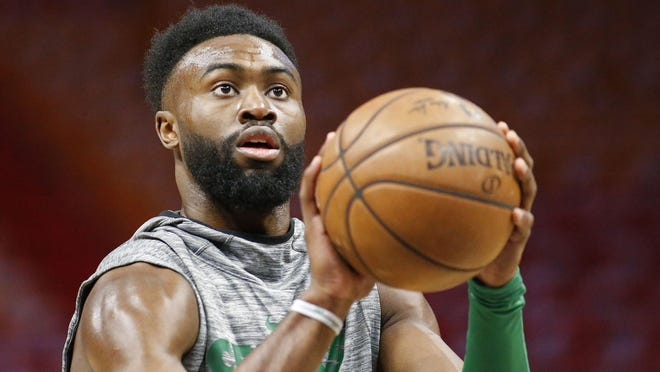 Celtics forward Jaylen Brown drove from Boston to Atlanta to help lead a Sunday protest over the killing of George Floyd.