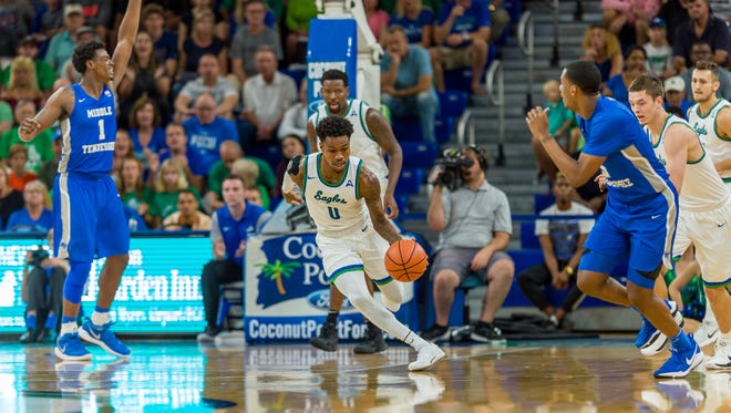 FGCU senior guard Brandon Goodwin and the Eagles will look to get back on track at home against Florida Atlantic on Tuesday night. The Eagles are coming off an 81-76 home loss against Middle Tennessee on Saturday night.