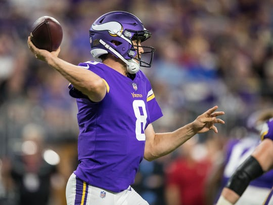 Aug 27, 2017; Minneapolis, MN, USA; Minnesota Vikings quarterback Sam Bradford (8) passes during the second quarter against the San Francisco 49ers at U.S. Bank Stadium. Mandatory Credit: Brace Hemmelgarn-USA TODAY Sports