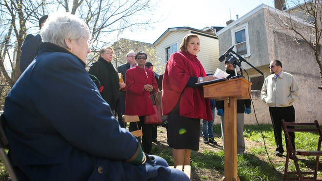Maria Cabrera announces her candidacy for mayor at a press conference along the 800 block of Windsor Street in Wilmington.