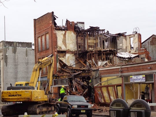Demolition work on 117-125 North Ave., Plainfield, on March 21.