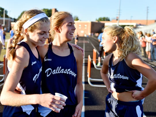 From left, Dallastown's Emily Schuler, Lydia Fimmano
