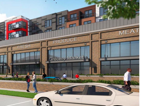 A rendering of the Meijer and residential units coming