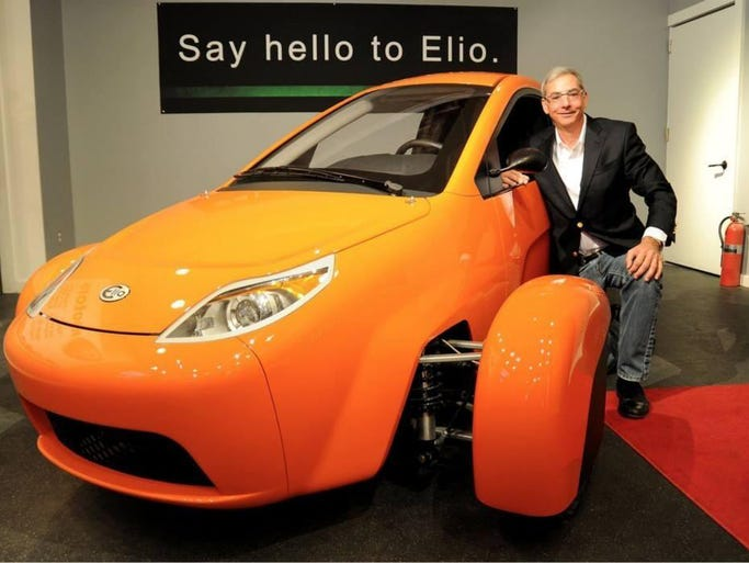 Paul Elio, founder and president of Elio Motors, with Elio P4, the newest prototype of the three-wheel vehicle the startup company plans to make at the former General Motors assembly plant in west Shreveport.