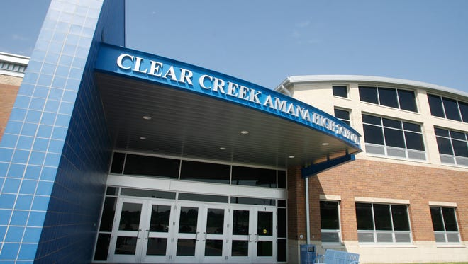The outside of the new Clear Creek Amana High School, Thursday, August 13, 2009, in Tiffin, Iowa.
