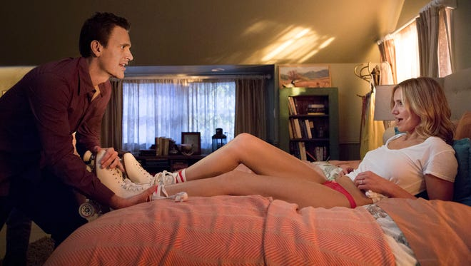 """This image released by Sony Pictures shows Cameron Diaz, right, and Jason Segel in a scene from """"Sex Tape."""""""