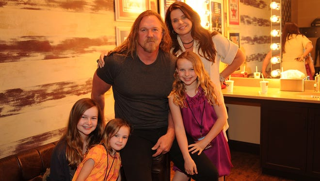 Trace Adkins, Rhonda Adkins and family attend Music Builds: the CMT Disaster Relief Concert on May 12, 2011 in Nashville, Tenn. Rhonda Adkins filed for divorce Monday, citing irreconcilable differences.