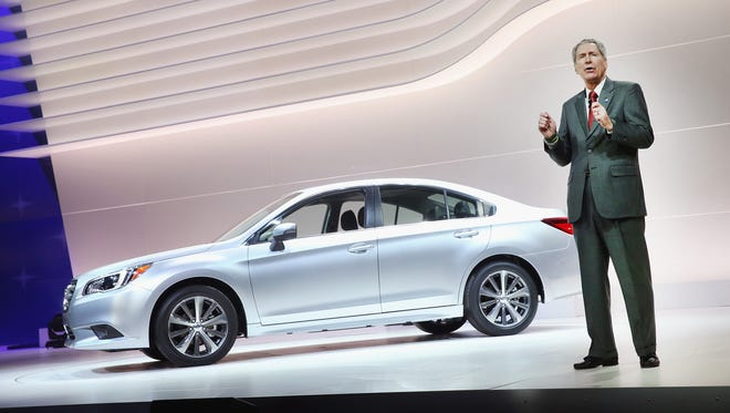 Tom Doll, president of Subaru of America, introduces the 2015 Legacy at the Chicago Auto Show