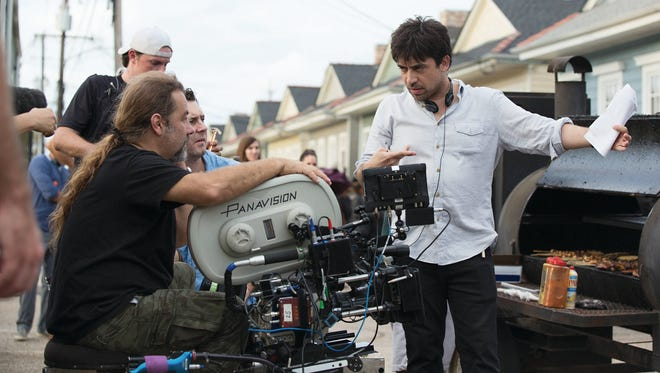 Alfronso Gomez-Rejon, right, directs an episode of the Emmy-nominated American Horror Story.