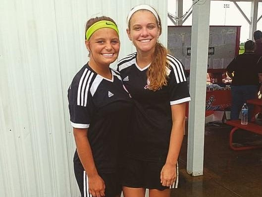 McAuley High School teammates Sammie Petri, left, and Ashley Kuchenbuch are also teammates on the U17 Cincinnati West Soccer Club team, which qualified to the President's Cup National Tournament.