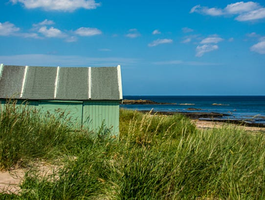 Green Hut by the Sea