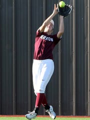 Vernon's Audrey Graf catches fly ball for the out against Godley Thursday, May 3, 2018, during the Region I-4A area round in Henrietta.