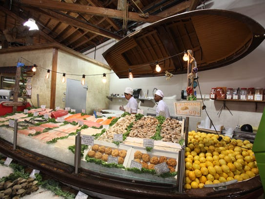 The seafood counter at the Old World Food Market in