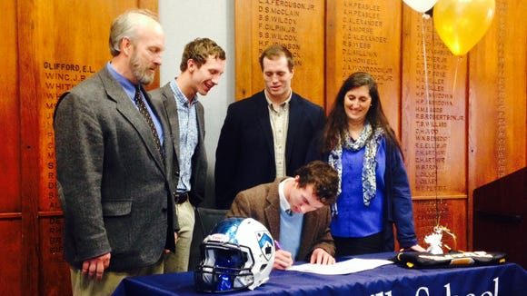 Asheville School senior David Schill will play college football for Centre (Ky.).