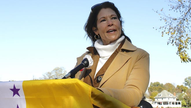 U.S. Representative Cheri Bustos speaks during the Women's Suffrage Centennial Sculpture dedication Saturday, Oct. 31, 2020, on the grounds of the downtown YMCA in Rockford.