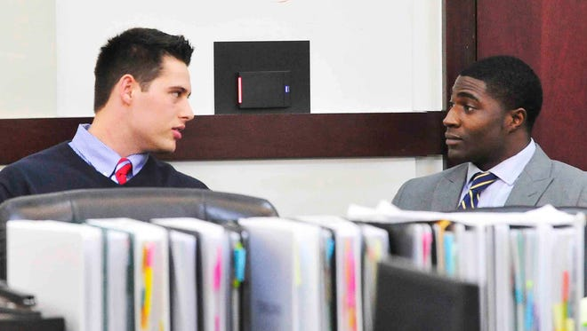 Defendants Brandon Vandenburg and Cory Batey talk during a recess at the initial Vanderbilt rape case trial in the Justice A. A. Birch Building in Nashville.