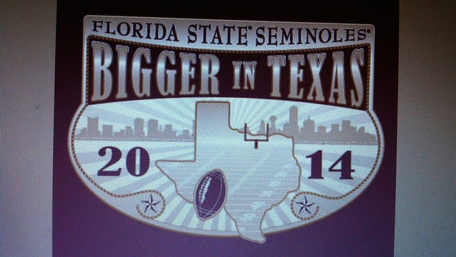 This is  the emblem that will be on T-shirts being sold by FSU Boosters in Texas.