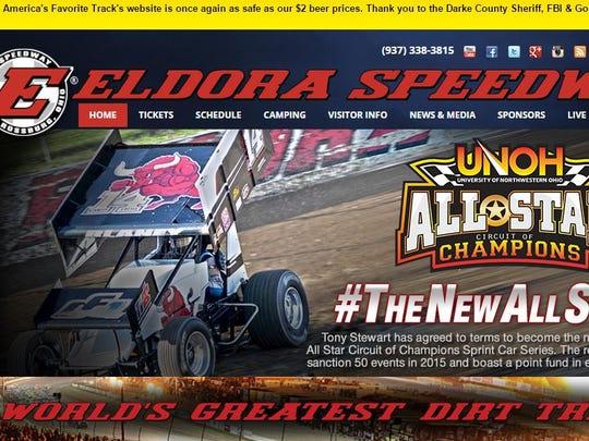 A banner across the top of Eldora Speedway's website