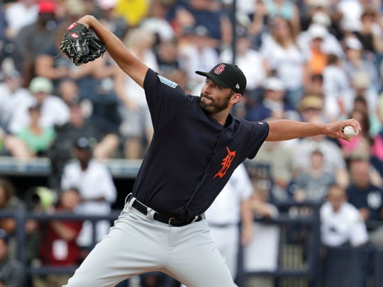 Tigers pitcher Ryan Carpenter delivers during the first inning of the Tigers' 3-1 exhibition loss to the Yankees on Friday, Feb. 23, 2018, in Tampa, Fla.