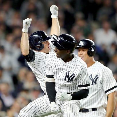 Didi Gregorius #18 of the New York Yankees celebrates