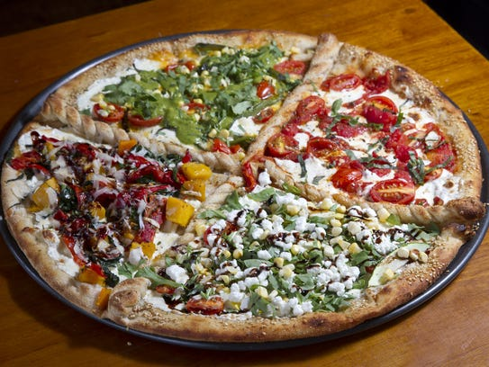 The four seasons pizza at Front Street Trattoria in