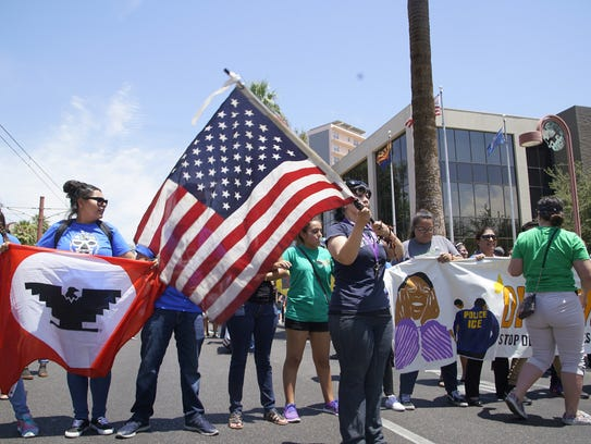 Immigrant-rights groups protest at ICE offices in Phoenix