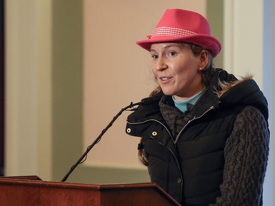 Market master Maria Murphy speaks during the grand