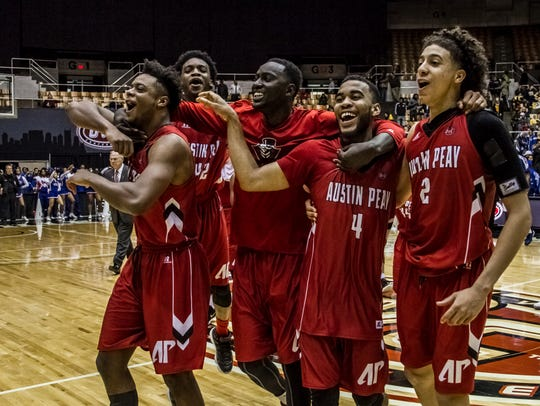 Governor players celebrate their come-from-behind victory