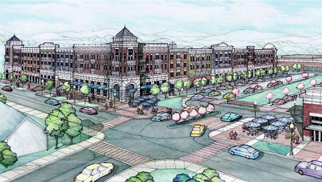 A conceptual rendering of the mixed-use development Brownsburg officials are working with Flaherty & Collins to bring to the former St. Malachy Catholic church and school property along North Green Street.