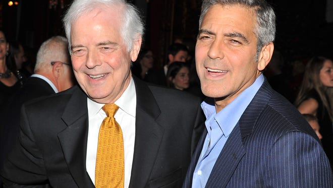"""Nick and George Clooney at the opening of Clooney's """"The Ides of March"""" in 2011, inspired by father Nick Clooney's 2004 run for Congress."""