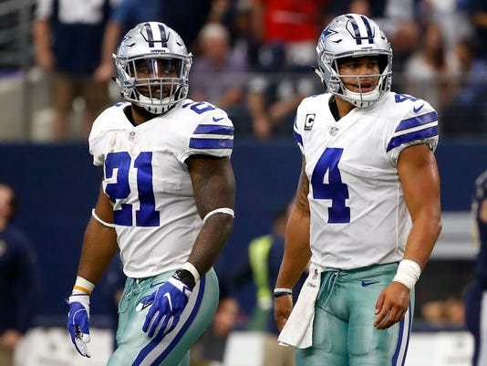 FILE - In this Oct. 1, 2017, file photo, Dallas Cowboys running back Ezekiel Elliott (21) and quarterback Dak Prescott (4) walk off the field after an unsuccessful two-point conversion in the second half of an NFL football game against the Los Angeles Rams in Arlington, Texas. The Dallas Cowboys won't have to adjust for Ezekiel Elliott's absence much longer. Elliott has one game remaining in his six-game suspension, when Dallas travels to Oakland on Sunday night, Dec. 17, 2017 and will be allowed back in the team facility on Monday. (AP Photo/Ron Jenkins, File)