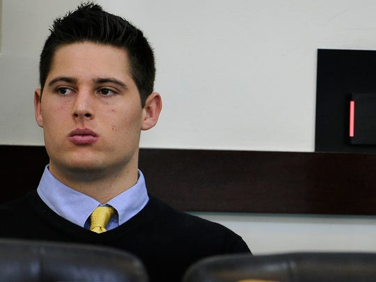 Former Vanderbilt football player Brandon Vandenburg, left, at trial in January 2015. Vandenburg faces a retrial in June 2016.
