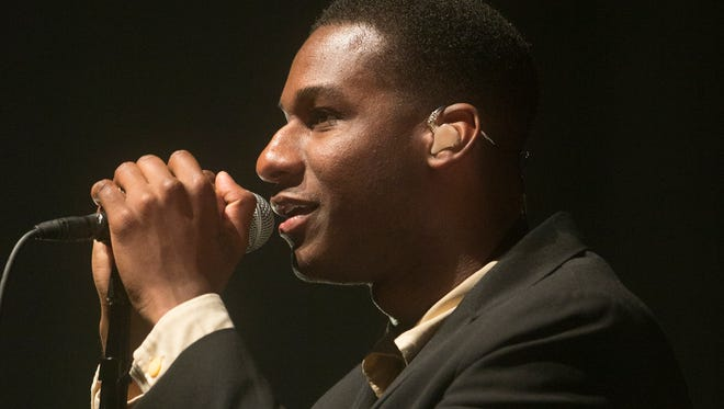 Leon Bridges sings Thursday night at the Murat Theatre in Old National Centre.