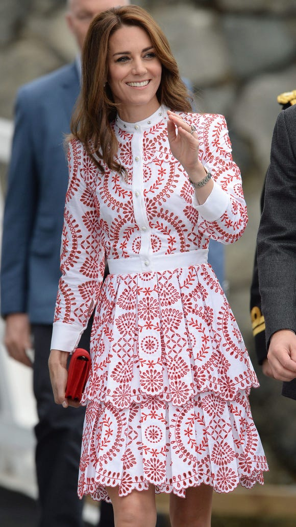 Kate wore red high-heeled suede pumps to get on and off a tiny sea plane in Victoria.