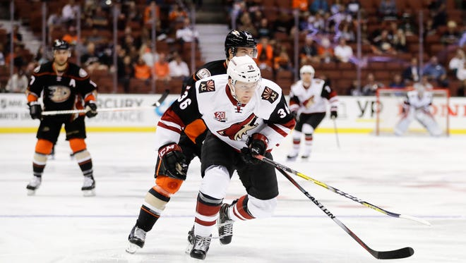Arizona Coyotes' Christian Fischer skates during the first period of an NHL preseason hockey game against the Anaheim Ducks Tuesday, Sept. 27, 2016, in Anaheim, Calif.
