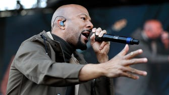 Rapper and actor Common performs at a rally commemorating the 50th anniversary of the assassination of Rev. Martin Luther King Jr. in March