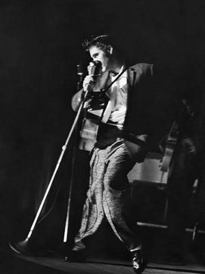 Elvis Presley performs in Jacksonville on August 10, 1956.