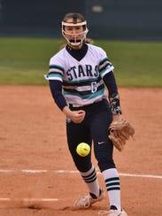 Siegel sophomore pitcher Sophie Golliver fires plateward