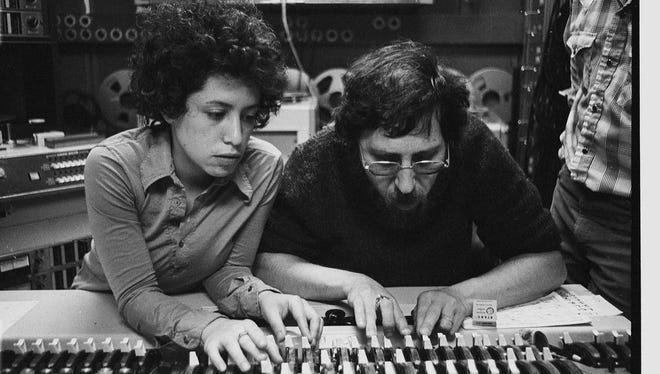 """Janis Ian and Brooks Arthur mixing """"At Seventeen"""" in 1975."""
