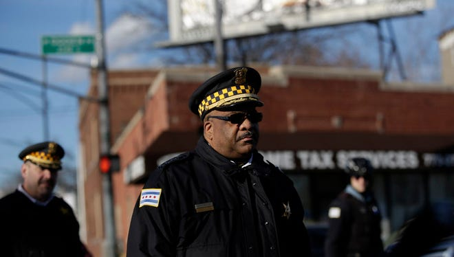 Chicago Police Superintendent Eddie Johnson  arrives at the scene of a triple shooting in the North Lawndale neighborhood to address the media on February 14, 2017 in Chicago, Illinois. A two-year-old boy, Lavontay White, and man were killed and a pregnant woman was wounded.Chicago has struggled with a soaring murder rate and rampant shootings.