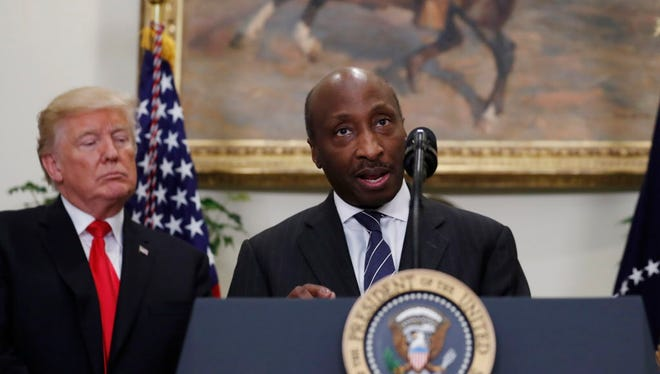 FILE - In this July 20, 2017 file photo, President Donald Trump listens as Merck CEO Ken Frazier speaks in the Roosevelt Room of the White House in Washington. If there's one thing no business likes, it's the departure of top talent. That even applies to the nation's government, which has seen a revolving door of CEOs exit from federal panels created years ago to advise the U.S. president.