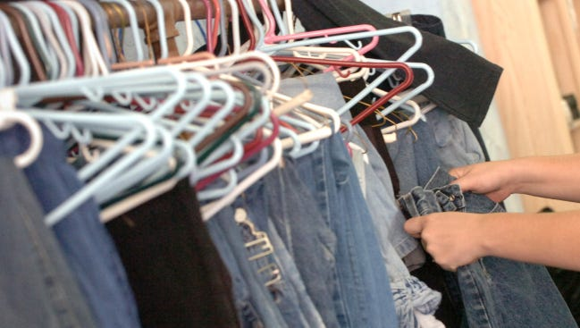 Jeans are among the clothing options offered at many clothing closets in the area. Men's clothes, including jeans, are particularly in demand at St. James' Lutheran Church in Brogue.