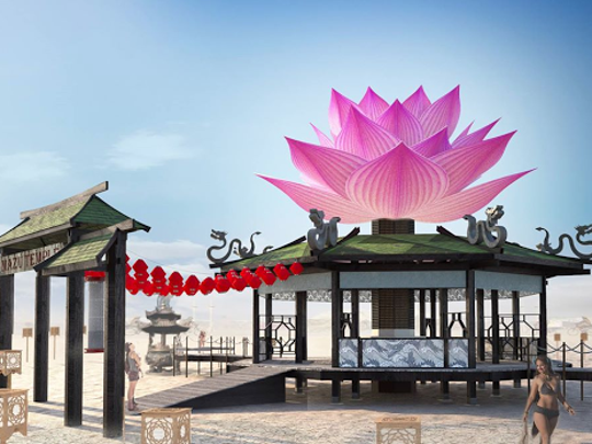A rendering of the Mazu temple for Burning Man 2015.