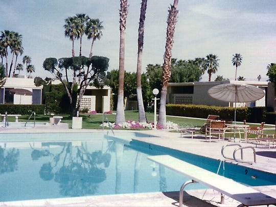 Vintage photo of pool at Sandcliff Garden Apartments in Palm Springs.